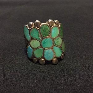 Vintage Zuni dishrags turquoise ring